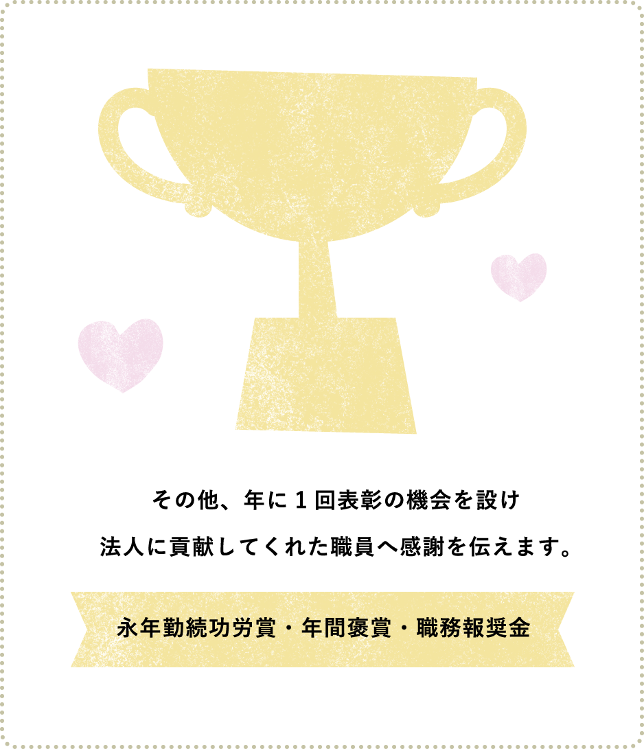 その他、年に1回表彰の機会を設け法人に貢献してくれた職員へ感謝を伝えます。永年勤続功労賞・年間褒賞・職務報奨金